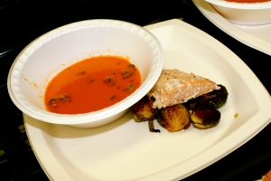 Tomato Bisque, Salmon Filet and Brussel Sprouts with Pancetta