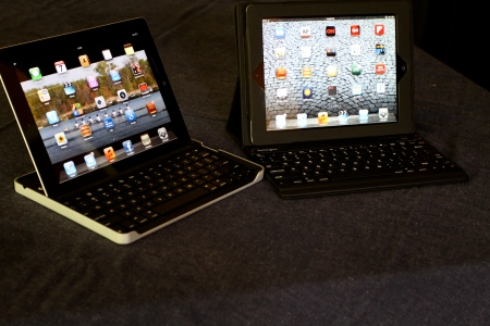 iPad 2 with Logitech and Kensington Bluetooth Keyboard